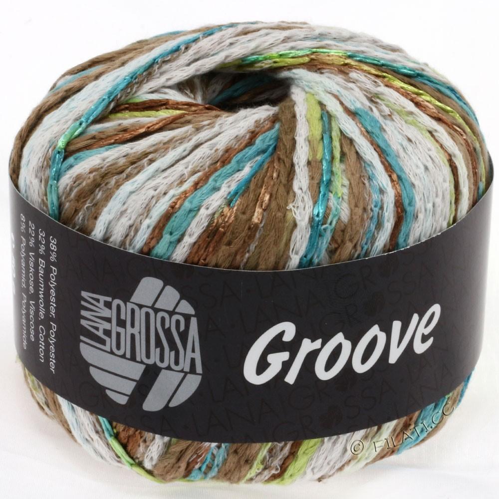 Lana Grossa GROOVE | 02-петроль/бирюзовый/светло-коричневый/пастельно-зелёный