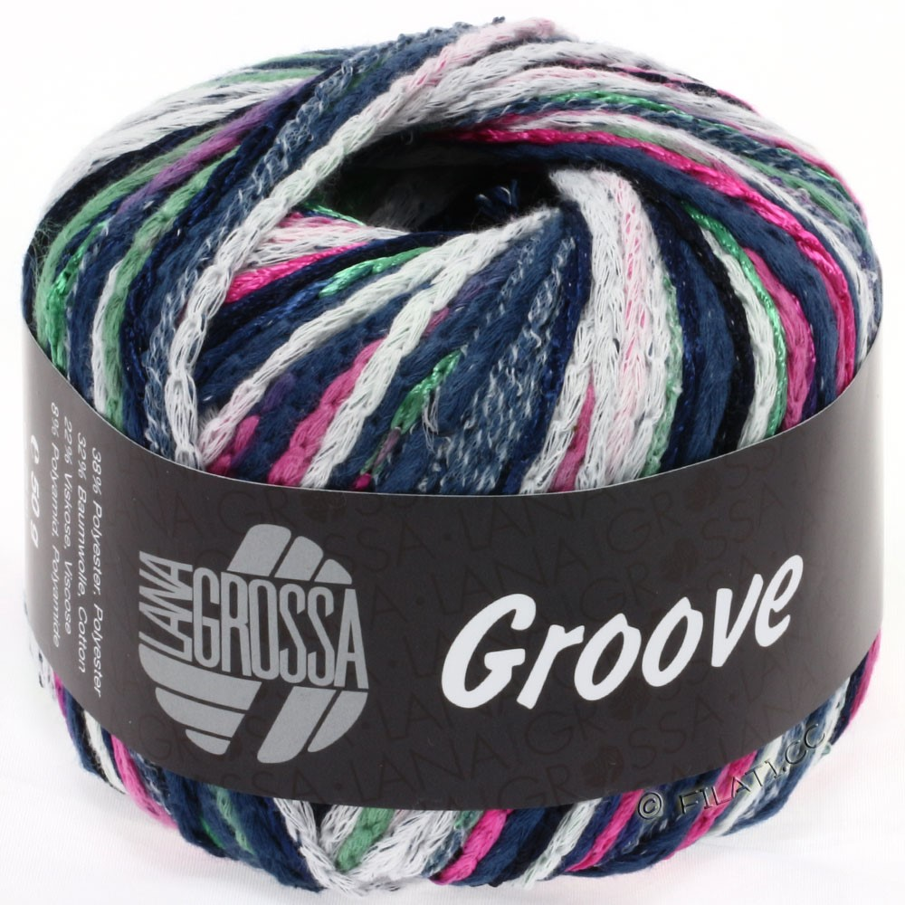 Lana Grossa GROOVE | 05-цикламеновый/синий/бутылочный цвет