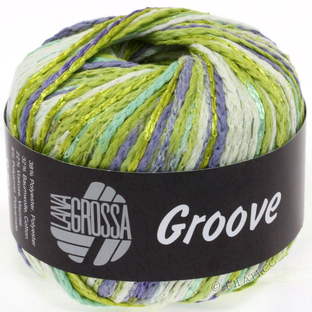 Lana Grossa GROOVE | 07-зелёный лаймовый/жёлто-зелёный/натуральный/лиловый