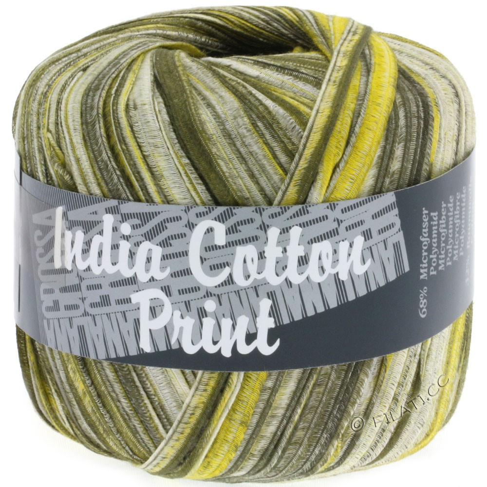 Lana Grossa INDIA Cotton Uni/Print | 302-оливковый/жёлтый/натуральный