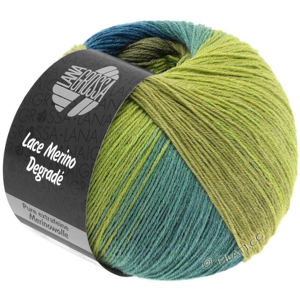 Lana Grossa LACE Merino Degradé | 407-жёлто-зеленый/хаки/тёмно сине-зеленый