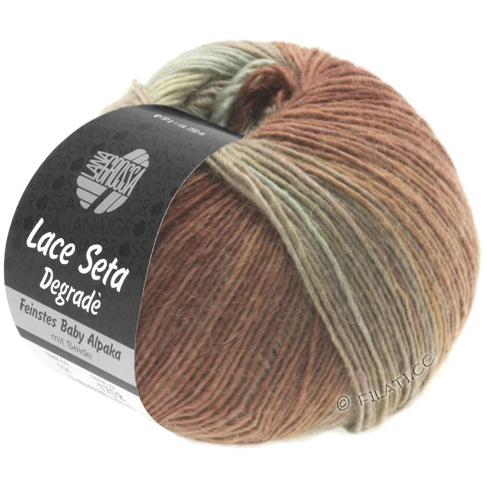 Lana Grossa LACE Seta Degradé | 115-серо-зеленый/серо-коричневый/нуга/коричневый шоколад