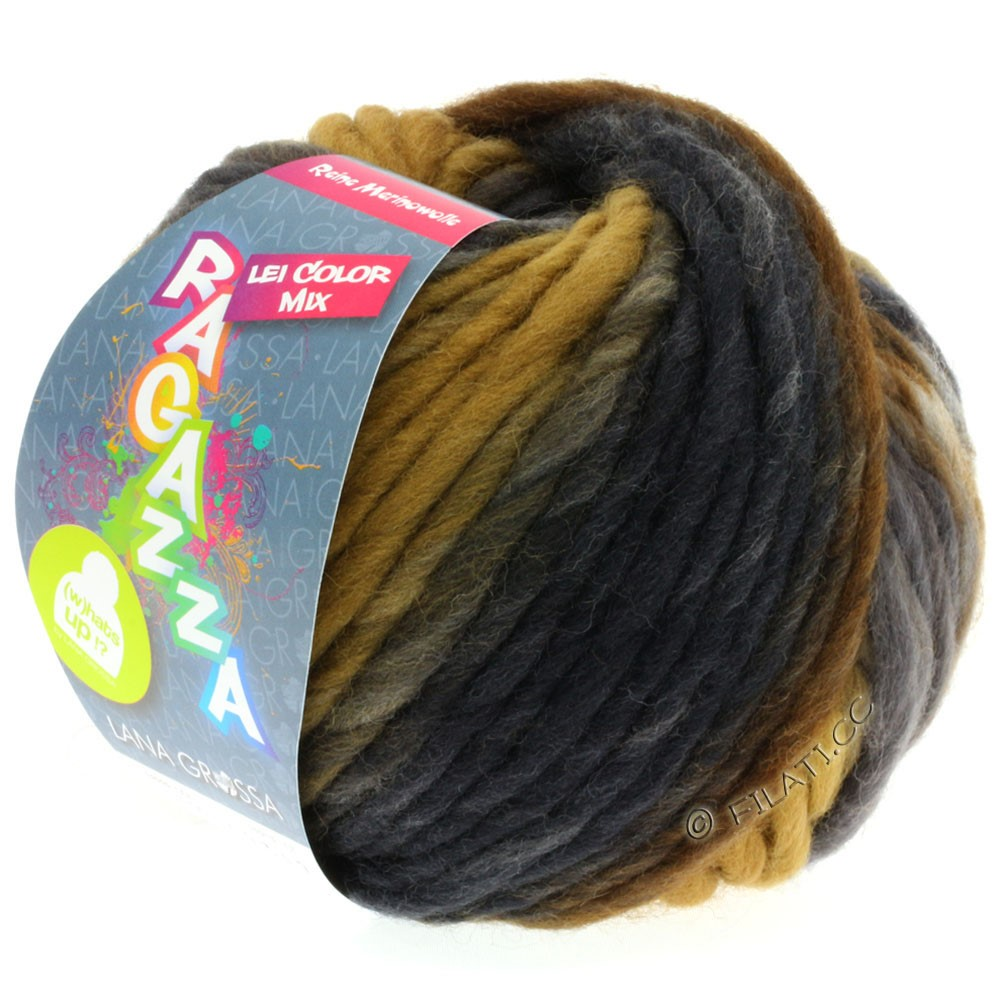 Lana Grossa LEI Moulinè/Color Mix/Spray (Ragazza) | 156-серо- бежевый/коричневая охра/серо-коричневый/тёмно-коричневый