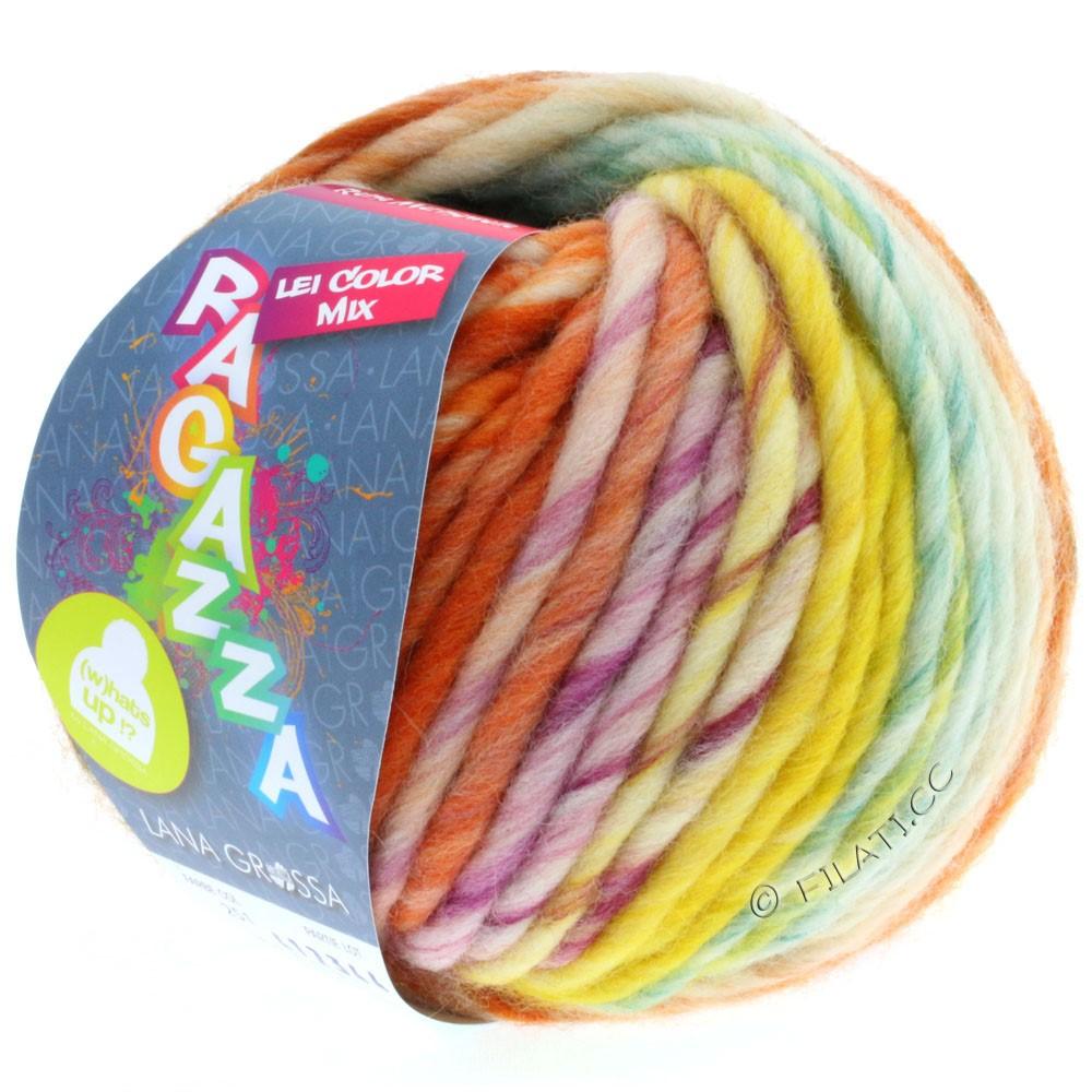 Lana Grossa LEI Moulinè/Color Mix/Spray (Ragazza) | 251-чисто-белый/оранжевый/жёлтый/петроль/фиолетовый