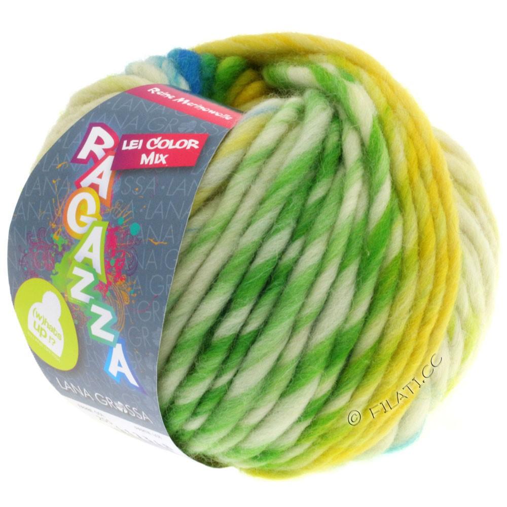Lana Grossa LEI Moulinè/Color Mix/Spray (Ragazza) | 255-жёлтый/натуральный/бирюзовый/жёлто-зеленый