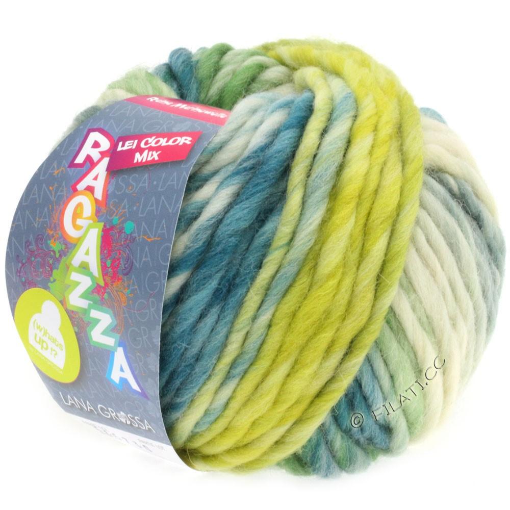Lana Grossa LEI Moulinè/Color Mix/Spray (Ragazza)   260-чисто-белый/лимонно-жёлтый/петроль/зелёный