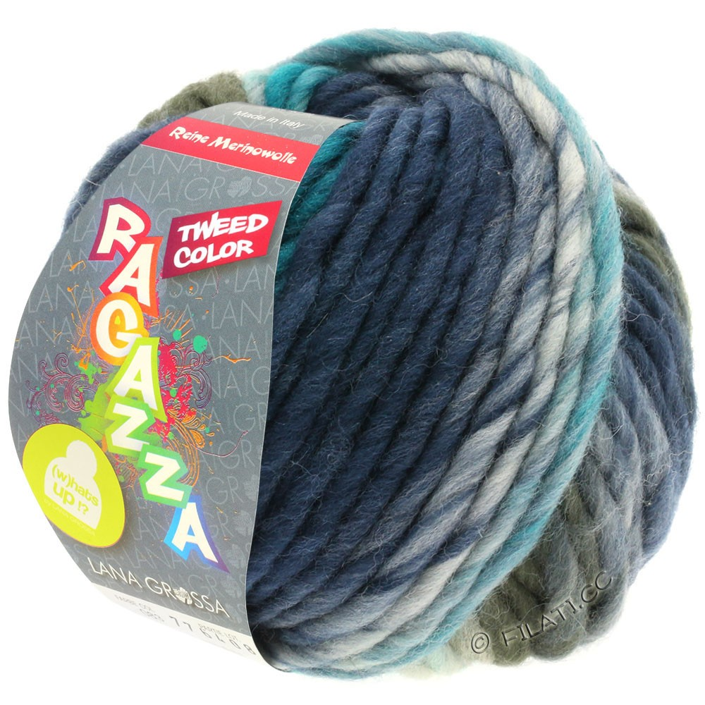 Lana Grossa LEI Tweed Color | 403-светло-голубой/серо-голубой/тёмно-синий меланжевый