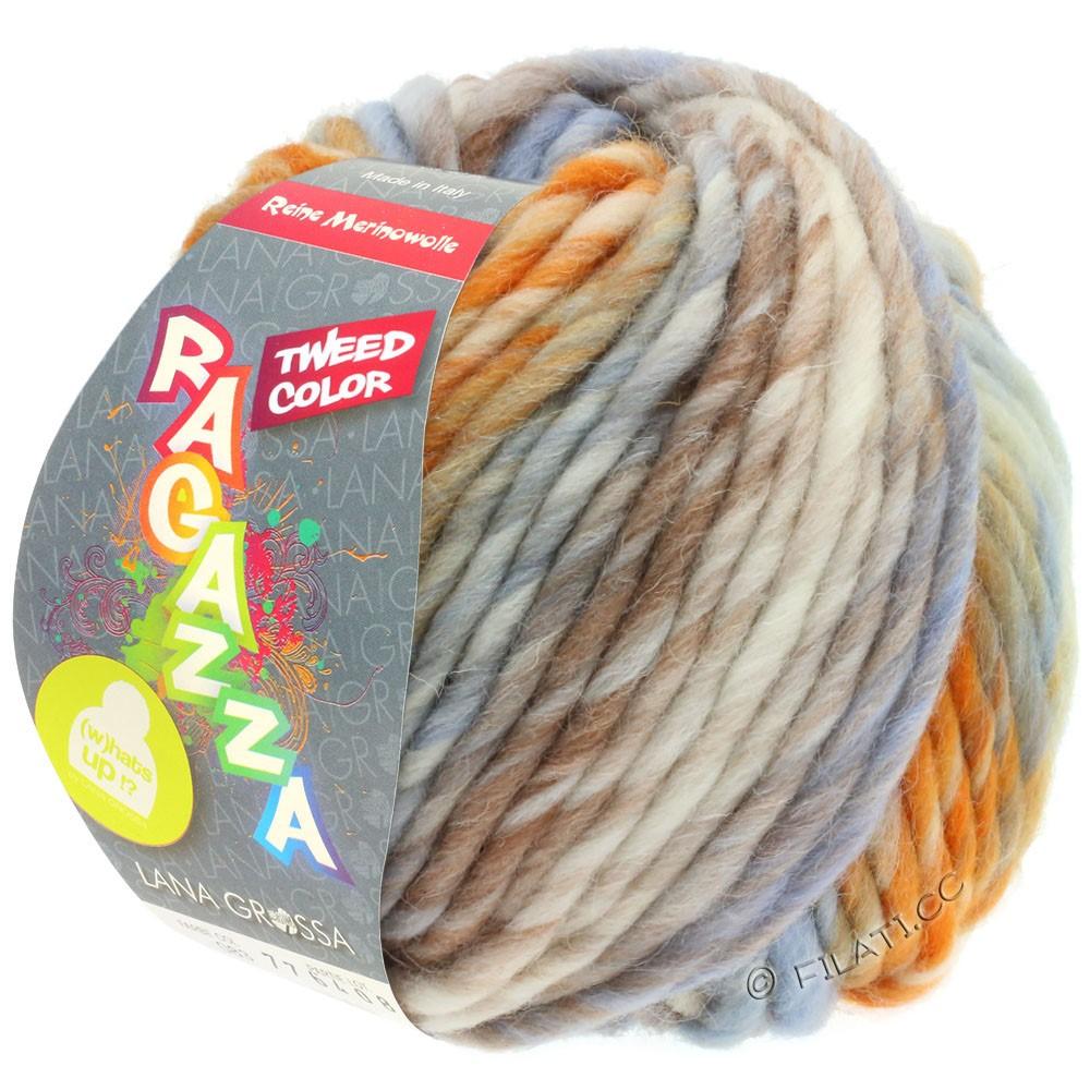 Lana Grossa LEI Tweed Color | 404-натуральный/светло-голубой/коричневый/оранжевый меланжевый