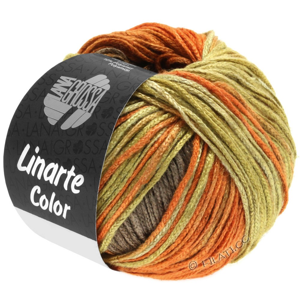 Lana Grossa LINARTE Color | 203-оливково-желтый/ярко оранжевый/медно-коричневый/серо-коричневый
