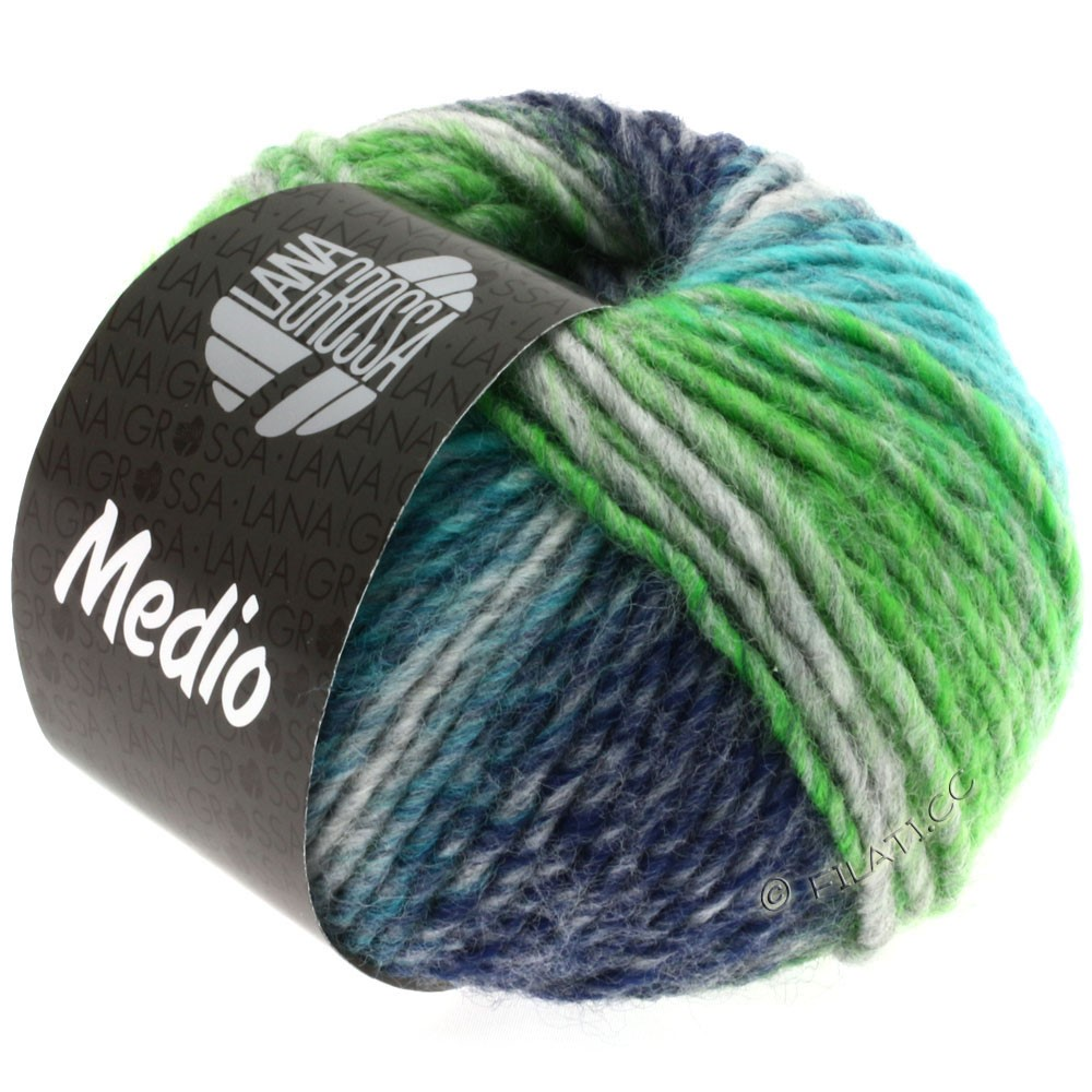 Lana Grossa MEDIO | 09-бирюзовый/серый/синий/светло-зелёный