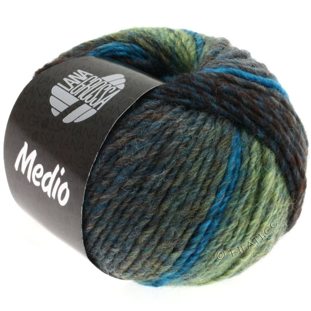 Lana Grossa MEDIO | 10-петроль синий/бирюзовый/мягко-зеленый/серый/антрацитовый