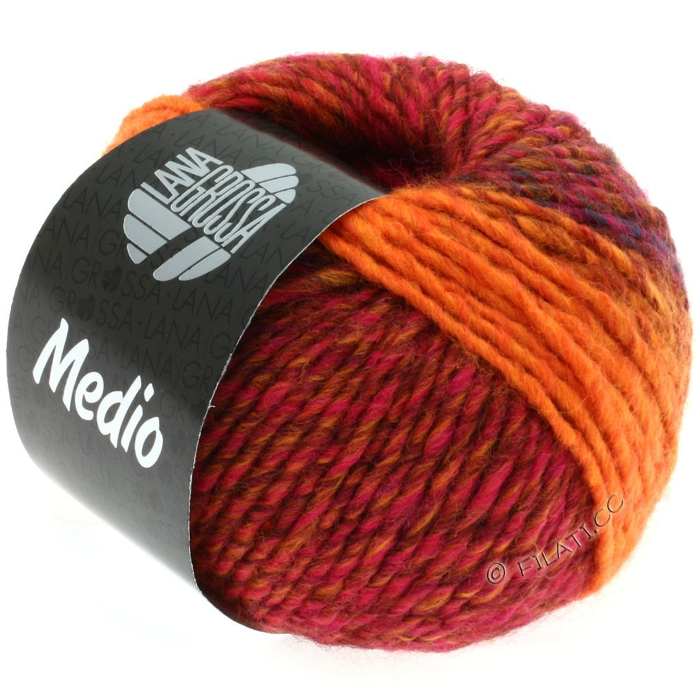Lana Grossa MEDIO | 13-красный/синий/пинк/оранжевый/коричневый цвет корицы