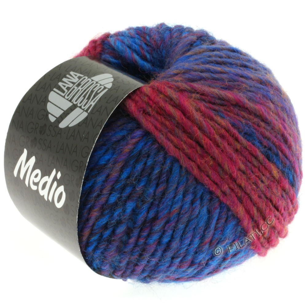 Lana Grossa MEDIO | 15-синий/синий/пинк/коричневый/серый/баклажановый
