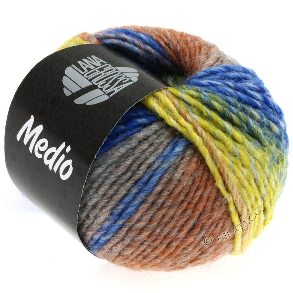 Lana Grossa MEDIO | 18-горчичный/светло-серый/средне-серый/коричневый/синий/натуральный