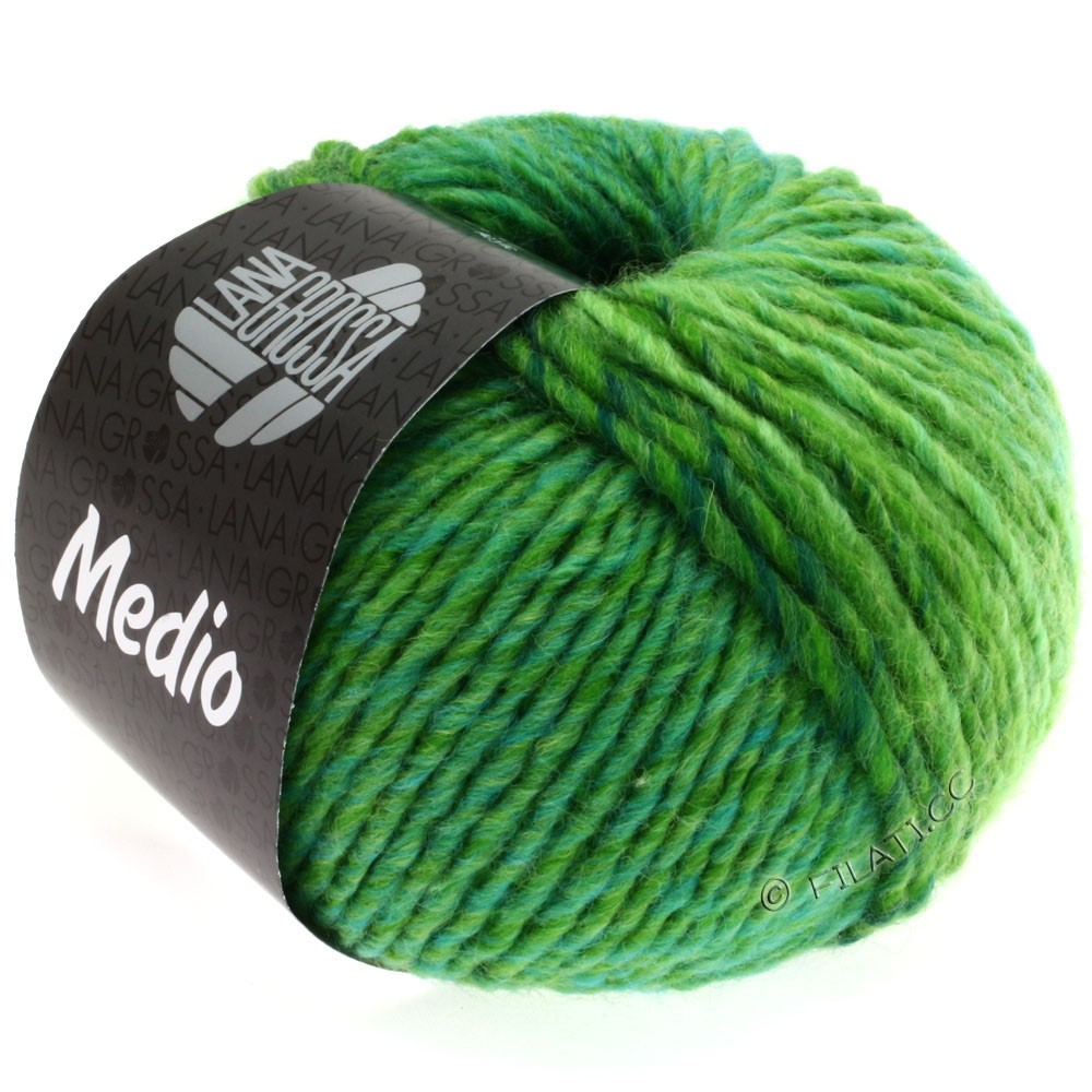 Lana Grossa MEDIO | 20-светло-зелёный/зелёное яблоко/бутылочный цвет/бирюзовый/жёлтый