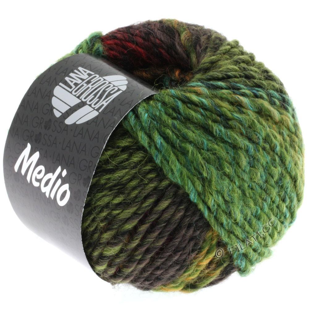 Lana Grossa MEDIO | 25-оливковый/пастельно-зелёный/горчичный/бирюзовый/тёмно-красный