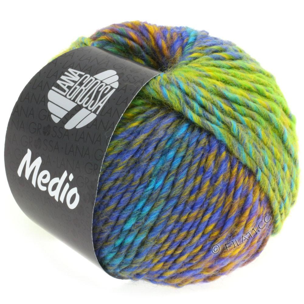 Lana Grossa MEDIO | 32-светло-зелёный/жёлтый/бирюзовый/синий/сине-фиолетовый