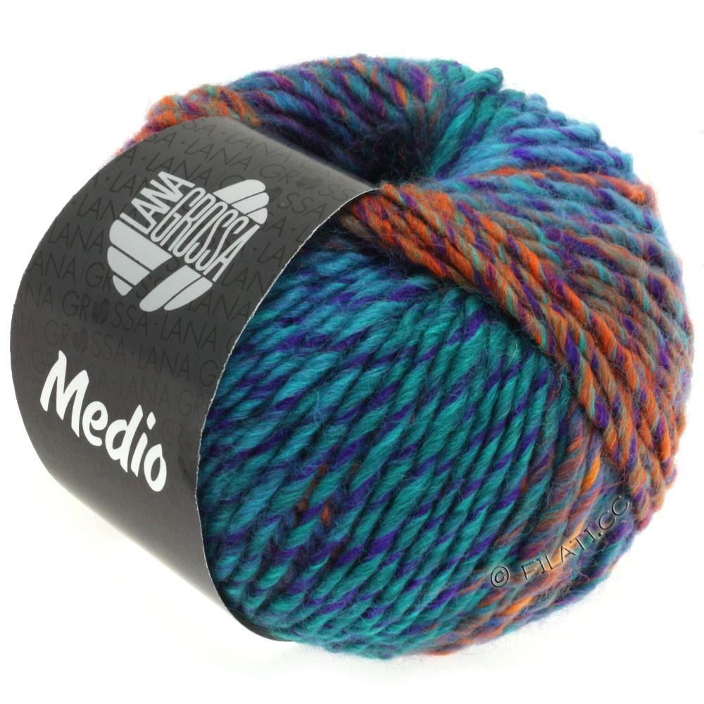 Lana Grossa MEDIO | 33-тёмно-синий /тёмно сине-зеленый/фиолетовый/светло-зелёный/оранжевый/синий