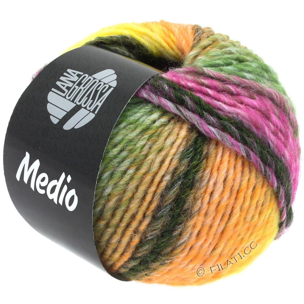 Lana Grossa MEDIO | 39-персик/жёлтый/чисто-белый/серо-коричневый/бежевый/мох зеленый /красная фиалка