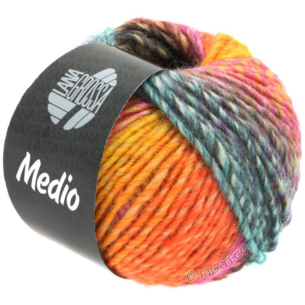 Lana Grossa MEDIO | 40-желтая охра/красный помидор/белый/розовый/пинк/бирюзовый