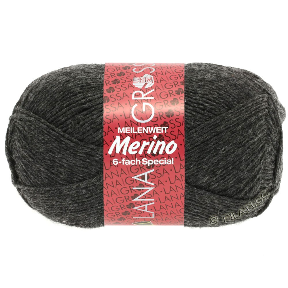 Lana Grossa MEILENWEIT 6-FACH 150g Merino | 7-антрацитовый