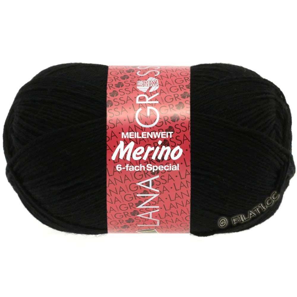Lana Grossa MEILENWEIT 6-FACH 150g Merino | 8-чёрный
