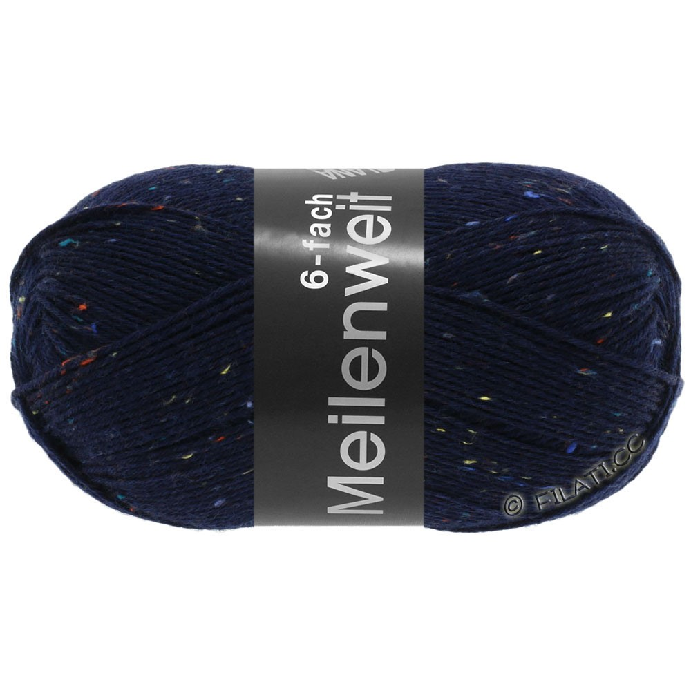 Lana Grossa MEILENWEIT 6-FACH 150g Print/Tweed | 8816-тёмно-синий  меланжевый