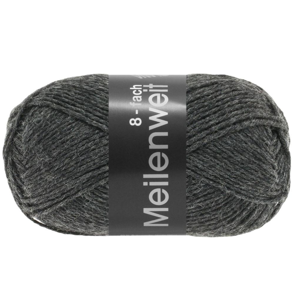Lana Grossa MEILENWEIT 8-FACH 100g Uni | 9557-антрацитовый