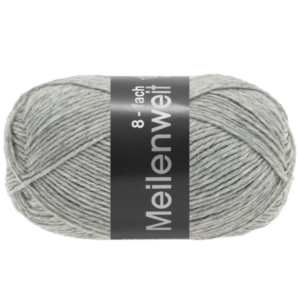Lana Grossa MEILENWEIT 8-FACH 100g Uni | 9564-светло-серый меланжевый