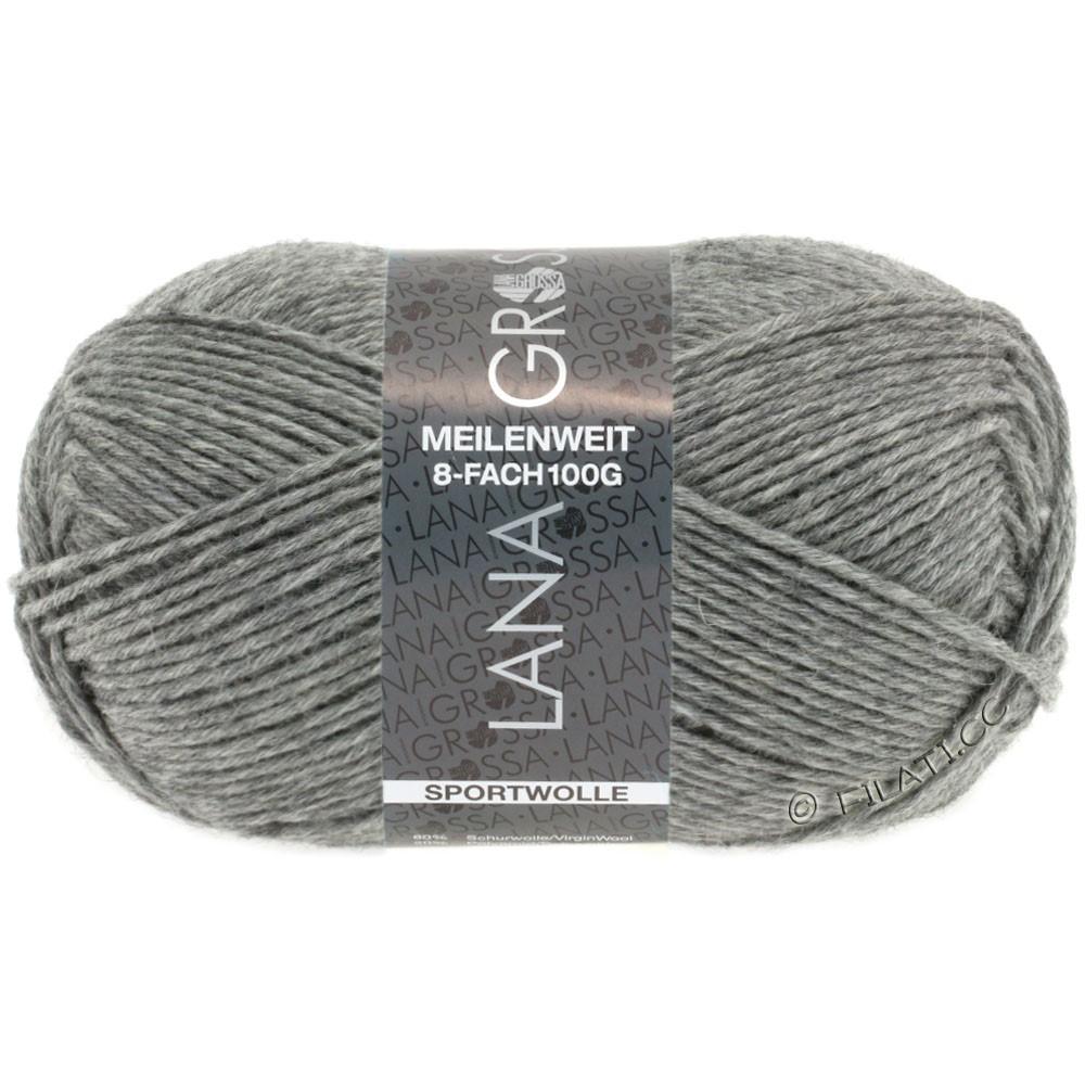Lana Grossa MEILENWEIT 8-FACH 100g Uni | 9615-тёмно-серый меланжевый