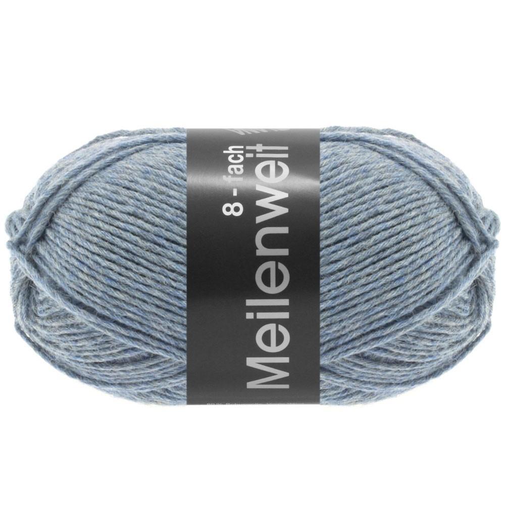 Lana Grossa MEILENWEIT 8-FACH 100g Uni | 9659-серо-синий меланжевый