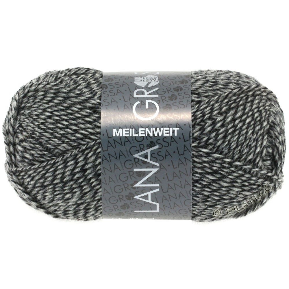 Lana Grossa MEILENWEIT 50g Uni   1178-натуральный/серый/чёрный