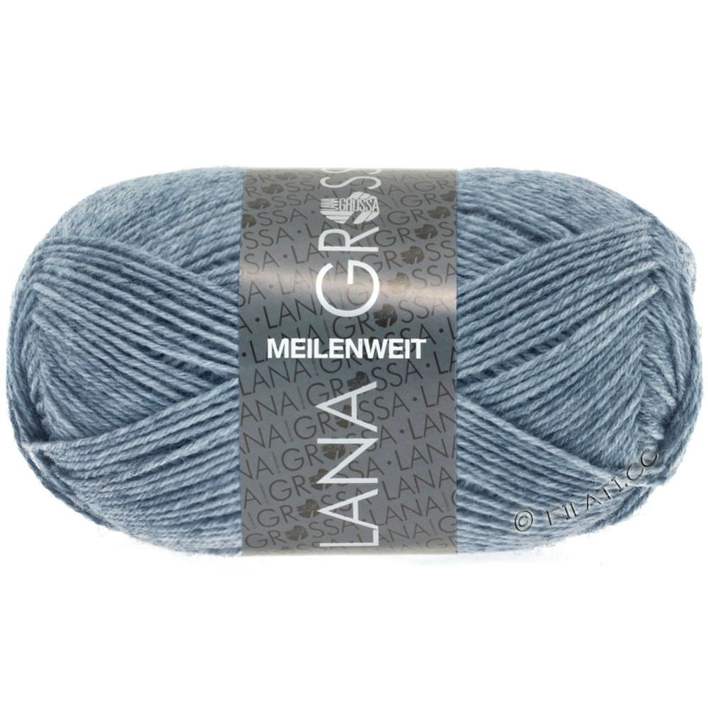 Lana Grossa MEILENWEIT 50g Uni | 1302-джинс/серый смешанный