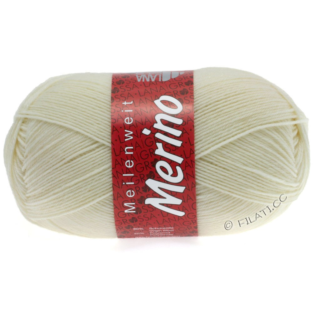 Lana Grossa MEILENWEIT 100g Merino Uni | 2009-чисто-белый
