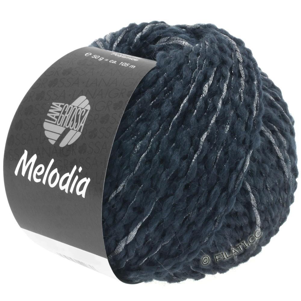 Lana Grossa MELODIA | 07-чёрно-синий/серебряный