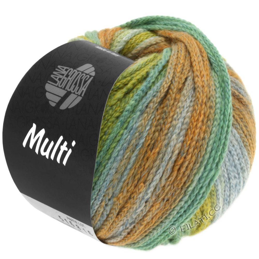 Lana Grossa MULTI | 08-жёлто-зеленый/жёлтая кукуруза/зелено-бирюзовый/хаки