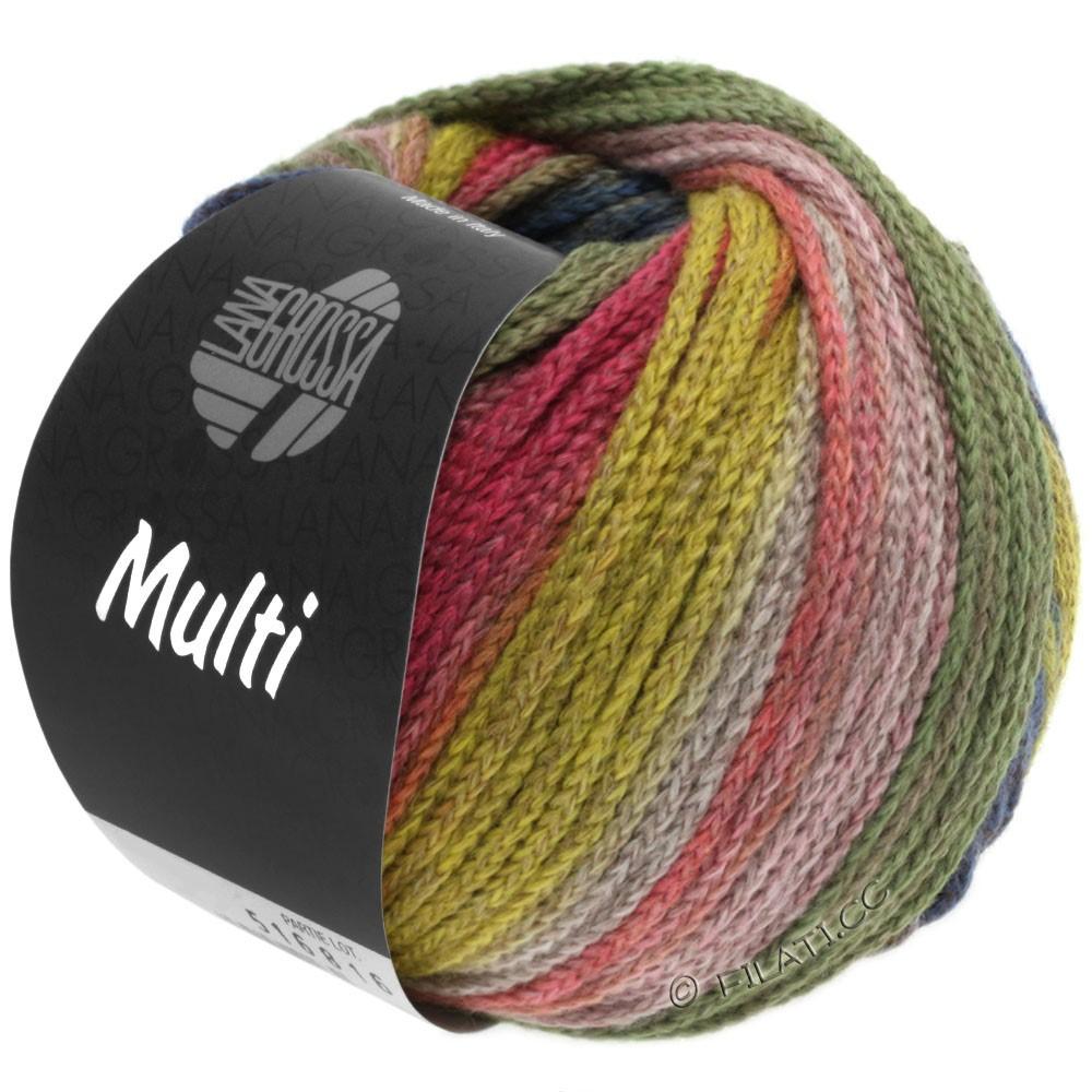 Lana Grossa MULTI | 10-жёлтый/светло-зелёный/пинк/коричневый/петроль/серо-зеленый