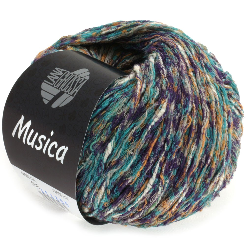 Lana Grossa MUSICA | 08-серо-зеленый/баклажановый/легко коричневый/белый