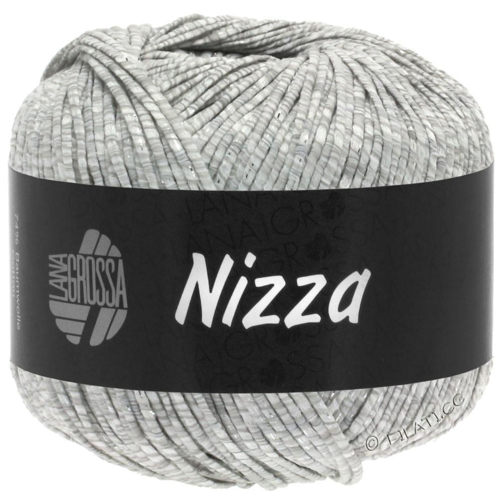 Lana Grossa NIZZA   01-белый/светло-серый/серебряный