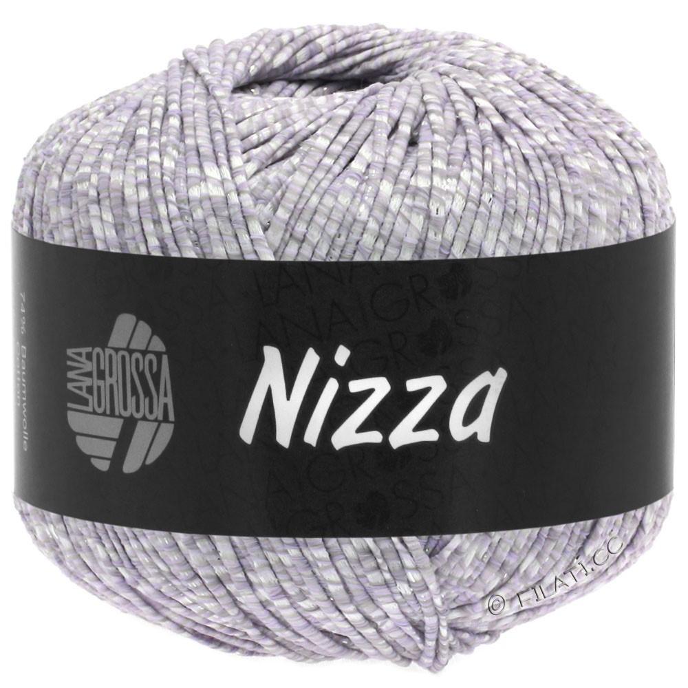 Lana Grossa NIZZA   02-белый/мягко-фиолетовый/серебряный