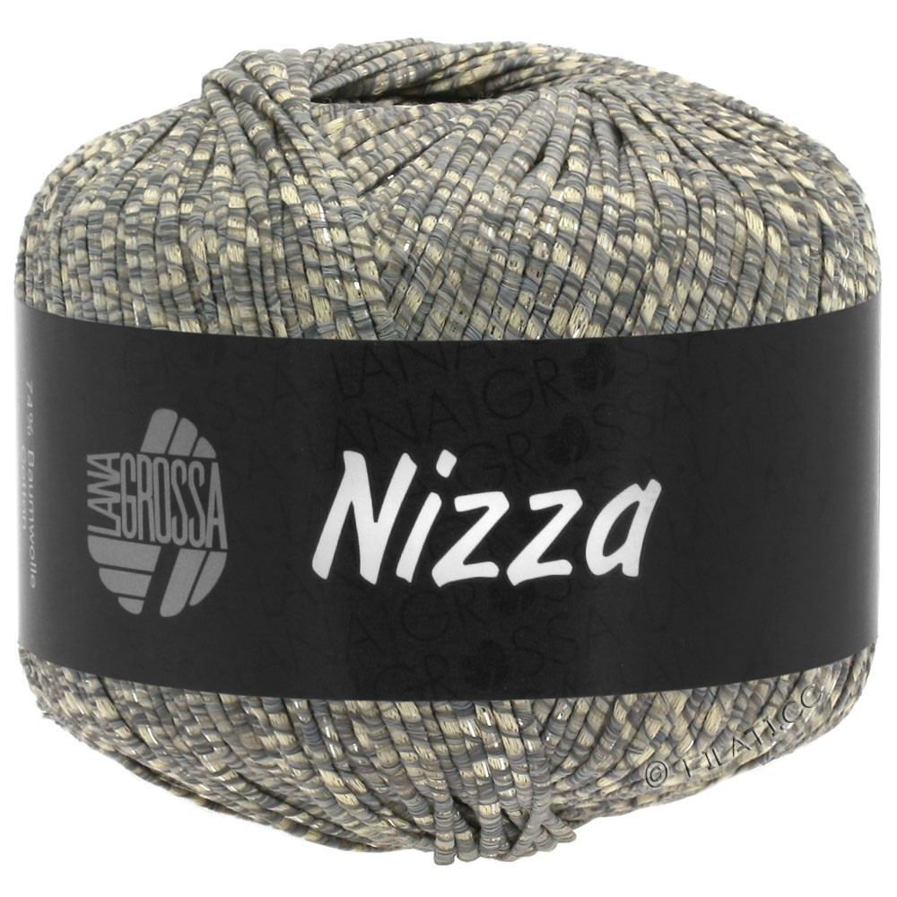 Lana Grossa NIZZA   08-бежевый/серый/серебряный