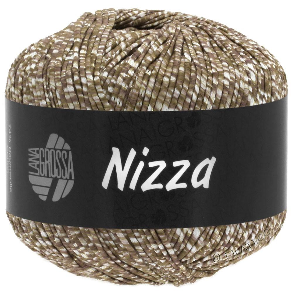 Lana Grossa NIZZA   10-белый/серо-коричневый/золотой