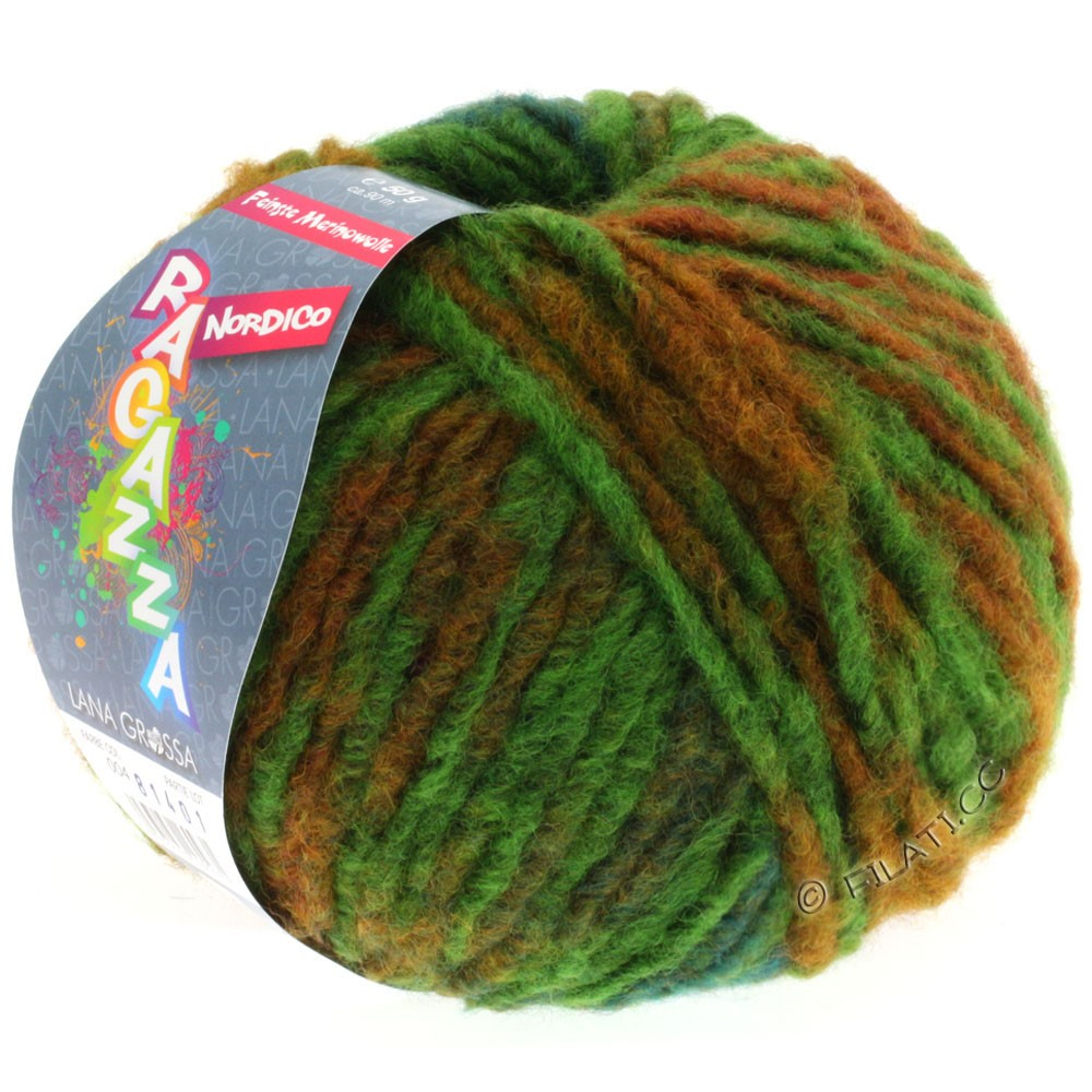 Lana Grossa NORDICO (Ragazza) | 04-зелёный/коричневый/петроль