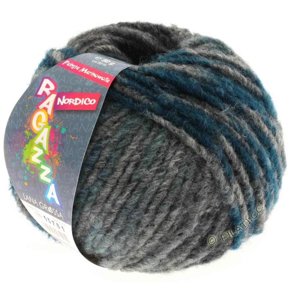 Lana Grossa NORDICO (Ragazza) | 09-тёмно-серый/антрацитовый/светлый сине-голубой