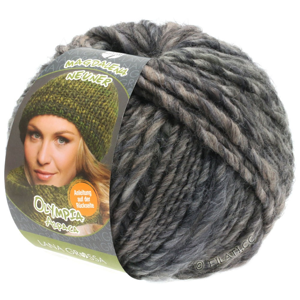 Lana Grossa OLYMPIA Alpaca | 908-серо-коричневый/тёмно-серый смешанный