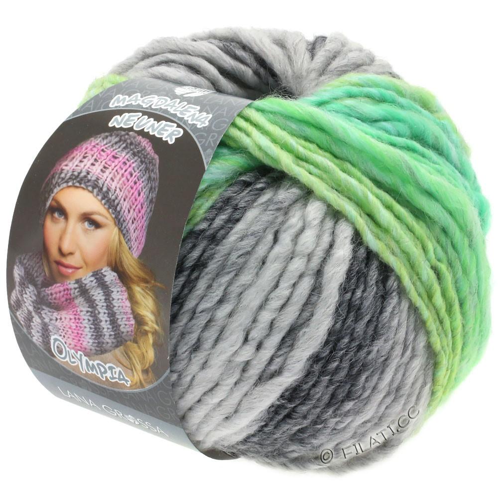 Lana Grossa OLYMPIA Grey | 803-тёмно-серый/светло-серый/жёлто-зеленый/нефритово-зеленый