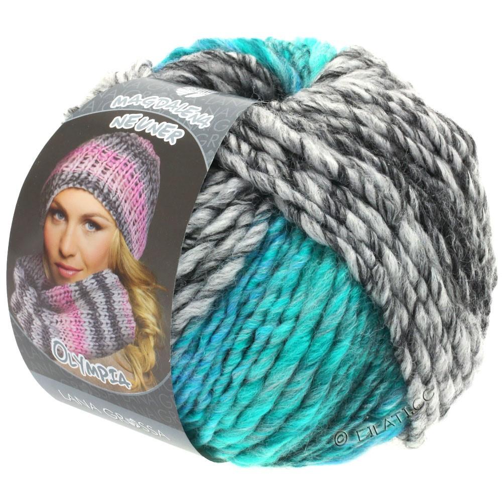 Lana Grossa OLYMPIA Grey | 808-антрацитовый/тёмно-серый/светло-серый/зелено-бирюзовый/сине-бирюзовый