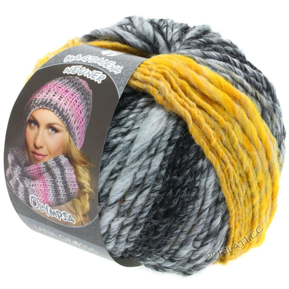 Lana Grossa OLYMPIA Grey | 810-антрацитовый/тёмно-серый/светло-серый/жёлтый меланжевый