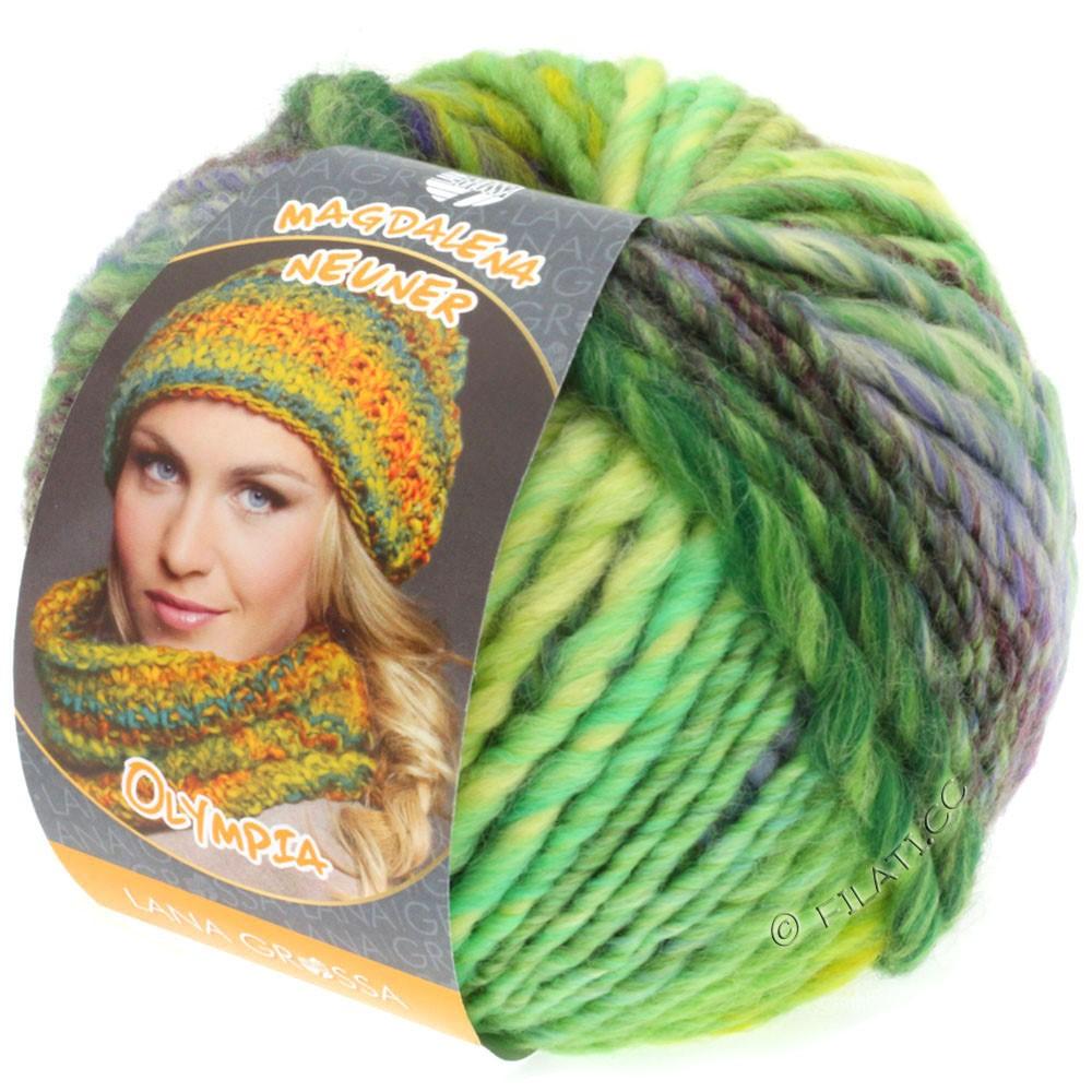 Lana Grossa OLYMPIA Classic | 051-светло-зелёный/изумрудный/фиолетовый/тёмно-зелёный/красно-лиловый/зеленовато-желтый