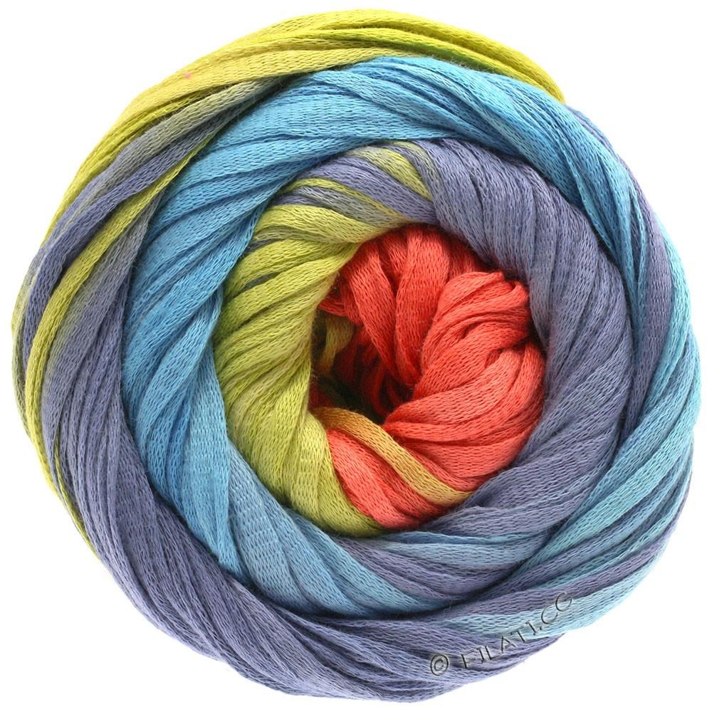 Lana Grossa PRIMAVERA | 123-коралловый/жёлто-зеленый/сине-фиолетовый/бирюзовый
